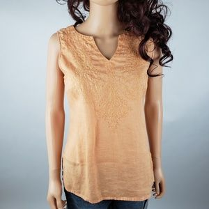 Willi Smith 100% Linen Orange Sleeveless Top